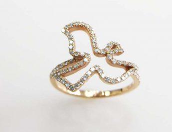 Anel de pomba em ouro com brilhantes - Jenry J