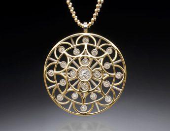 Pingente de mandala budista com diamantes - Christopher Duquet